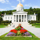 Picture - Flowers in front of the Vermont State Capitol building in Montpelier.