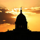 Picture - Silhouette of Oklahoma State Capitol in Oklahoma City at sunset.