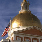Picture - Golden dome & cupola of the Boston State House completed in 1798 by Charles Bulfinch.