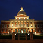 Picture - Massachusetts State House at night, Boston, MA.