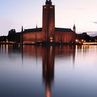 Picture - Tower of the Stockholm City Hall in the evening.