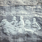 Picture - Confederate war leaders carved on Stone Mountain in Atlanta.