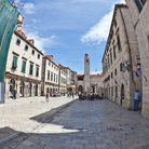 Picture - Wide angle view along the Stradun in Dubrovnik.