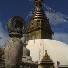 Picture - Flags hanging from Swayambhunath Stupa, Kathmandu.