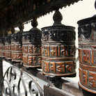 Picture - Prayer wheels at the monkey temple, Swayambhu, in Kathmandu.