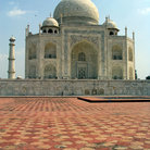 Picture - Stone work on the ground in front of the Taj Mahal in Agra.
