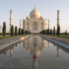Picture - Reflection at the Taj Mahal in Agra.