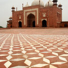 Picture - Patterns on the ground and mosque at the Taj Mahal in Agra.