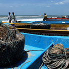 Picture - Boats on the beach in Chennai.