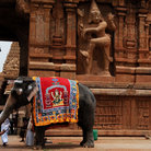 Picture - Elephant in front of the Brihadishvara Temple, Tanjore.