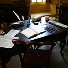 Picture - Old desk in the House of Burgesses Monument in Jamestown.