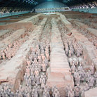 Picture - Rows of Terracotta Warriors, near the Qin Shi Huangdi mausoleum.