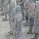Picture - Close up of terracotta warriors standing in formation.