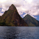 Picture - The Pitons north of Soufrière.