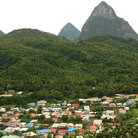 Picture - The Pitons with the town of Soufriere below.