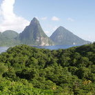 Picture - Distant view to the Pitons.