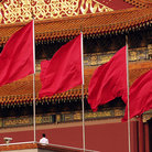 Picture - Flags in Tienanment Square in Beijing.