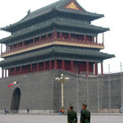 Picture - Guards outside front gate Tiananmen square.