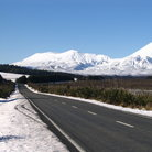 Picture - Road with Mt Ngaruhoe and Mt Tongariro.