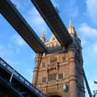Picture - Looking up at the Tower Bridge in London.