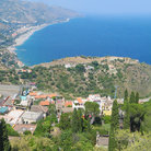 Picture - View from above Taormina out towards the sea.