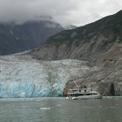 Picture - A boat at the South Sawyer Glacier in Tracy Arm.