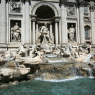 Picture - Fountain of Trevi in Rome, depicts a scene of the Ocean Kingdom with sea god Oceanus (Neptune), horses, tritons and shells.