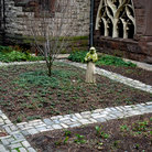 Picture - Garden with brick walkway at Trinity Church in Boston, MA.