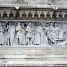 Picture - Detail of crowning of St Stephen on base of statue at Fisherman's Bastion, Budapest.