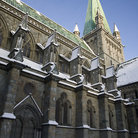 Picture - The snow covered Nidaros Cathedral in Trondheim.