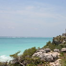 Picture - View of the Caribbean Sea from the Mayan fortified town ruins at Tulum.