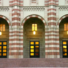 Picture - UCLA Kaufman Hall front entrance, formerly the Dance Building, Los Angeles.