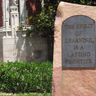 Picture - Stone with plaque on the grounds of the University of Oklahoma.