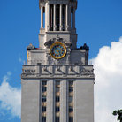 Picture - Clock on tower ar the University of Texas in Austin.
