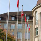 Picture - Swiss flags at University of Zurich.