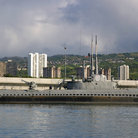 Picture - Bowfin submarine docked at Pearl Harbor submarine museum.