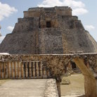 Picture - Pyramid and archway, Uxmal.
