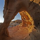 Picture - Late afternoon sun on an arch at Valley of Fire State Park.