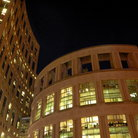 Picture - A night view of the famous Vancouver Public Library.