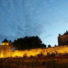 Picture - The wall of Vannes seen at night.