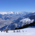 Picture - Skiers on the hill at Verbier.