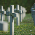Picture - Crosses mark graves in military cemetery, Verdun.