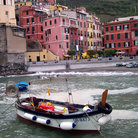 Picture - Boat and buildings in the town of Vernazza.