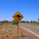Picture - Kangaroo crossing sign on the roads of Australia.