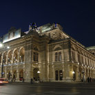 Picture - View of the Vienna Opera at night.