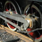Picture - Drive wheel of a railroad steam engine, Roanoke, Virginia.
