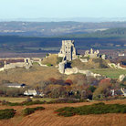 Picture - View over Corfe Castle in Dorset.