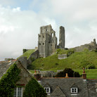 Picture - The Corfe Castle ruins on a hilltop.