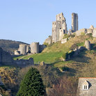 Picture - The hillside ruins of Corfe Castle in Swanage.
