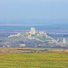 Picture - A distant view ot Corfe Castle in Swanage.